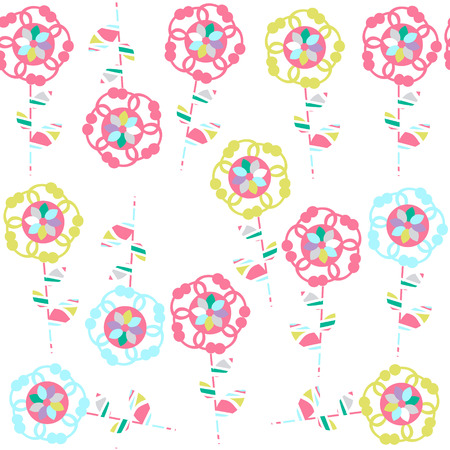 Cute simple  floral seamless pattern and seamless pattern in swatch menu
