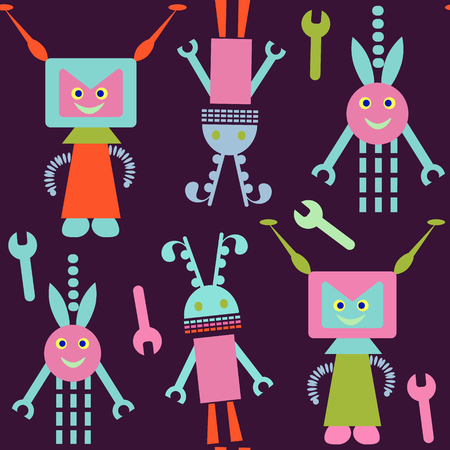 Robots seamless pattern and seamless pattern in swatch menu