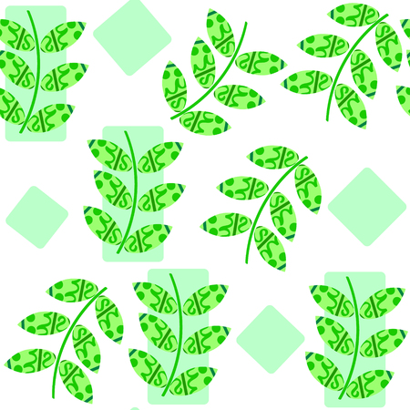 Cute green fresh leaf seamless floral pattern and seamless pattern in swatch menu