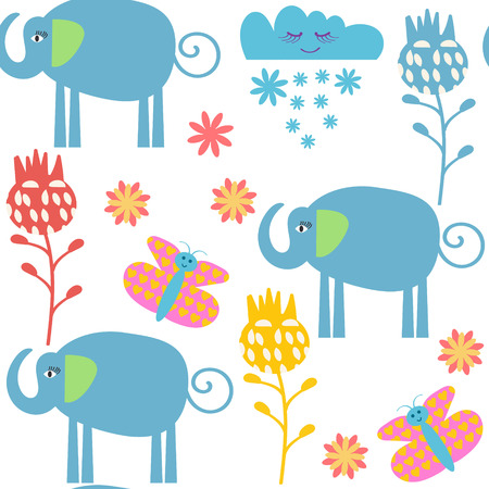 Funny elephants  seamless pattern and seamless pattern in swatch menu, vector illustration Illustration
