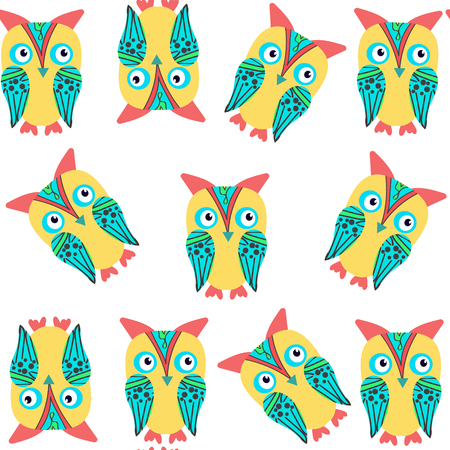 Cute funny owls seamless pattern and seamless pattern in swatch menu, vector image