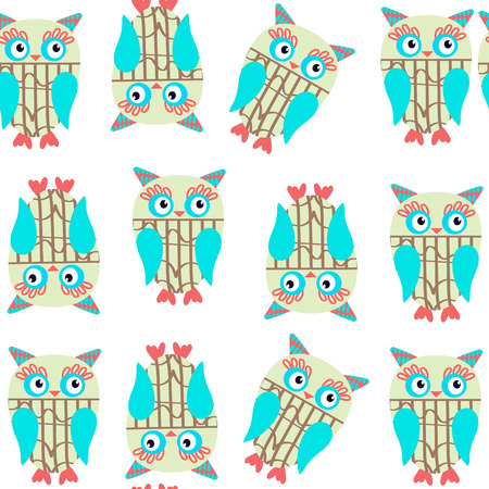 Cute kids seamless pattern with owls and seamless pattern in swatch menu, vector image Illustration
