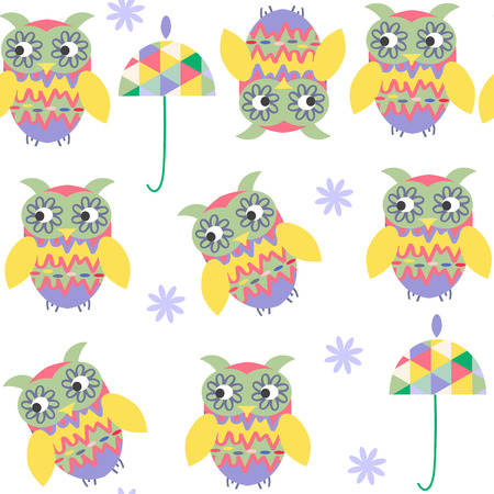 Funny owls seamless pattern and seamless pattern in swatch menu, vector illustration. Cute texture or background for design
