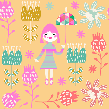 Cute child seamless pattern with little girl and seamless pattern in swatch menu, vector image