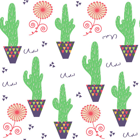 Nature floral odd funny  cactus seamless pattern and seamless pattern in swatch menu, vector illustration