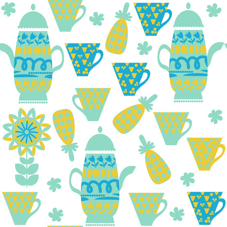 Cute tea seamless pattern with dishes and seamless pattern in swatch menu, vector illustration. Cute image  and texture for design in green and blue colors. Odd background