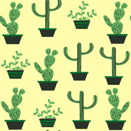 Nature  funny floral  cactus seamless pattern and seamless pattern in swatch menu, vector illustration. Cute texture and image Illustration