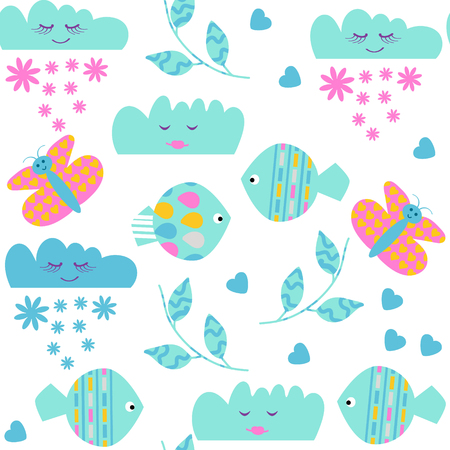 Nature floral odd funny  seamless kids pattern and seamless pattern in swatch menu, vector illustration