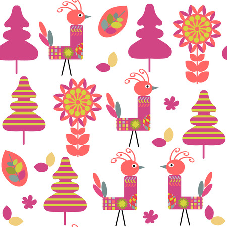 Odd birds seamless kids pattern and seamless pattern in swatch menu, vector illustration