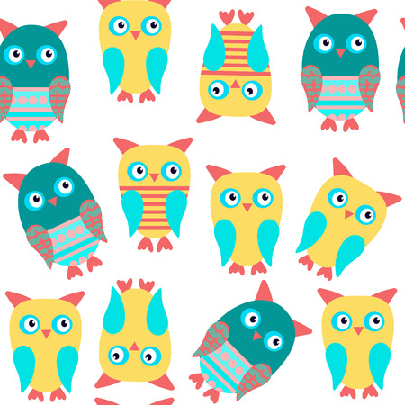Owls seamless kids pattern and seamless pattern in swatch menu, vector illustration Illustration