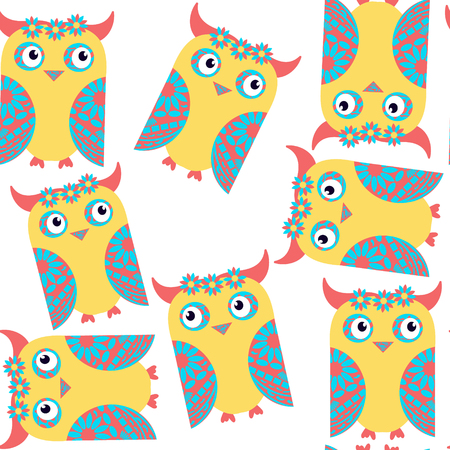 Funny odd fantasy cute owls seamless pattern and seamless pattern in swatch menu, vector illustration. Cute texture for design fabric, apparel, cases. Background made seamlessly Illustration