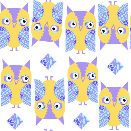 Funny  cute owls seamless pattern and seamless pattern in swatch menu, vector image. Cute texture for design fabric, apparel, cases. Background made seamlessly Illustration