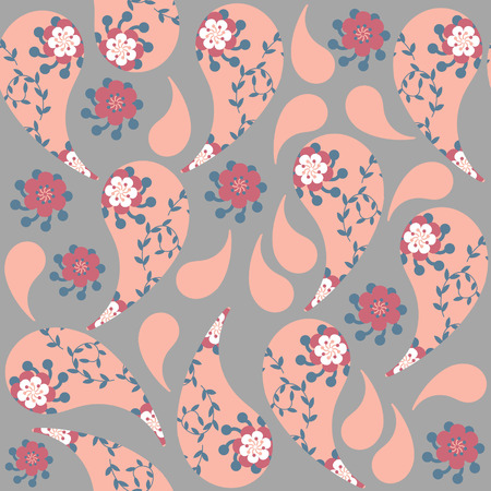 Gentle Paisley seamless pattern and seamless pattern in swatch menu, vector image. Cute texture for design fabric, apparel, clothes, cases. Background made seamlessly