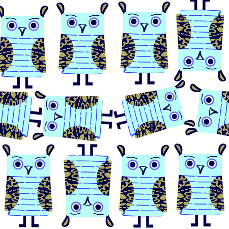 Funny  owls seamless pattern and seamless pattern in swatch menu, vector image. Cute texture for design fabric, apparel, cases. Background made seamlessly