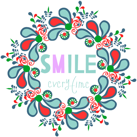 Cute colorful floral vector card. Bright image for design. Beautiful illustration with text