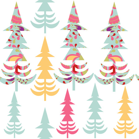 spruce tree: Cute spruce tree  simple  seamless pattern and seamless pattern in swatch menu, vector picture. Colorful illustration. Abstract fantasy illustration for design