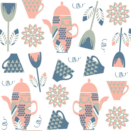 Tea kettle seamless pattern. It is located in swatch menu, vector image. Cute background for design