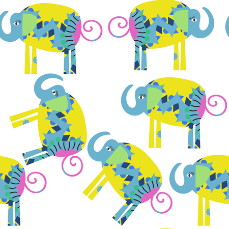 Funny elephants seamless pattern. It is located in swatch menu, vector illustration. Colorful image