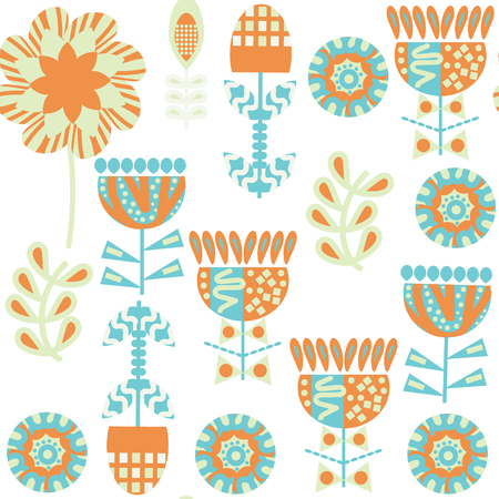 Floral seamless pattern. It is located in swatch menu, vector image. Colorful background