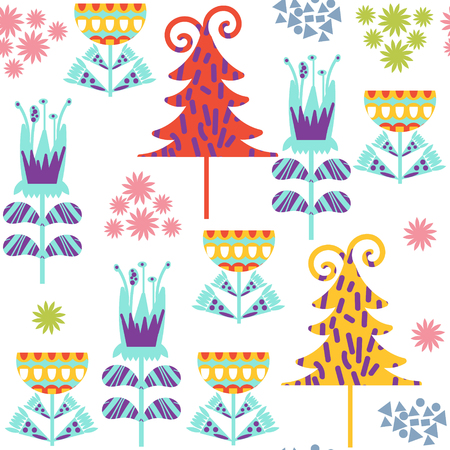 Floral seamless pattern. It is located in swatch menu, vector image. Colorful backdrop for design
