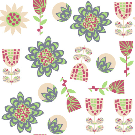 Floral seamless pattern in gentle colors. It is located in swatch menu, vector image. Colorful illustration