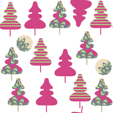 Floral spruse tree  seamless pattern. It is located in swatch menu, vector illustration. Colorful image