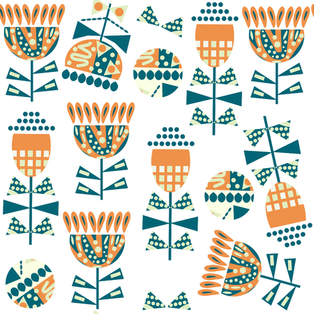 Floral funny seamless pattern. It is located in swatch menu, vector illustration. Colorful image