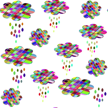 Cute clouds seamless pattern. It is located in swatch menu, vector image