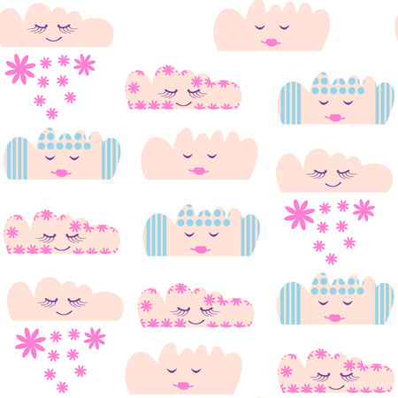 Clouds seamless pattern and seamless pattern in swatch menu, vector image