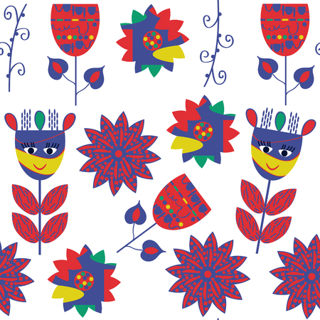 Floral seamless pattern, vector. It is located in swatch menu, cute image