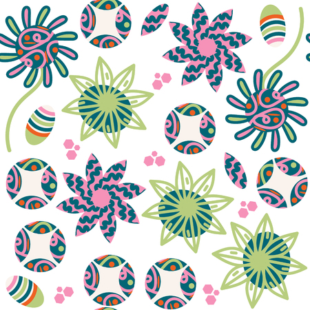 Colorful floral seamless pattern, vector. It is located in swatch menu, cute image for design Illustration