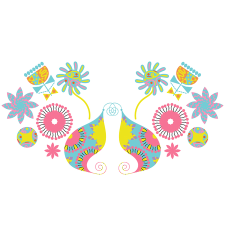 Paisley floral  vivid funny ornament, vector image Illustration