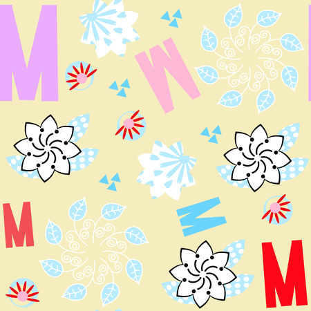 Letters seamless floral pattern. It is located in swatch menu, vector vivid illustration