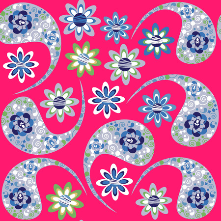 Paisley seamless floral colorful pattern. It is located in swatch menu, vector Illustration