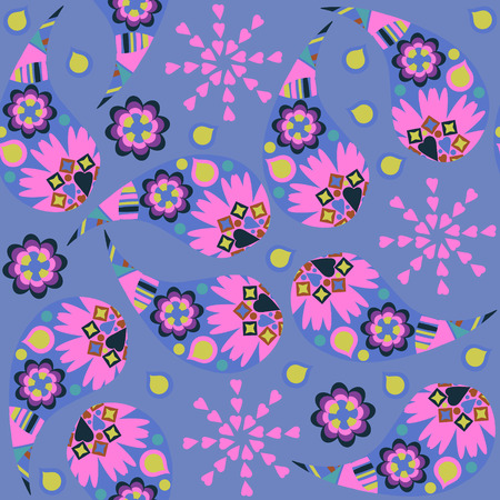 Paisley seamless floral blue and pink colors  pattern. It is located in swatch menu, vector image