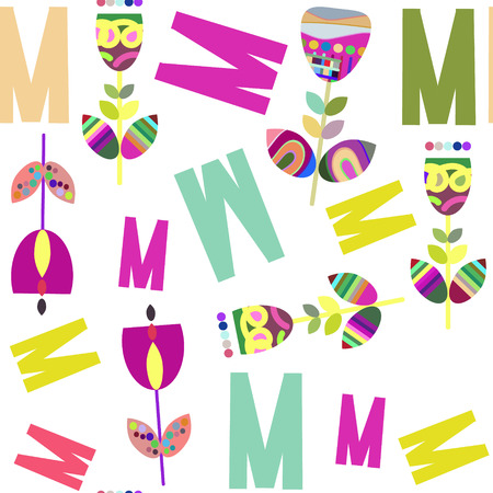 Letters and flowers seamless pattern. It is located in swatch menu, vector illustration design Illustration