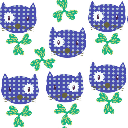 Cats  and flowers seamless pattern. It is located in swatch menu, vector illustration design Illustration