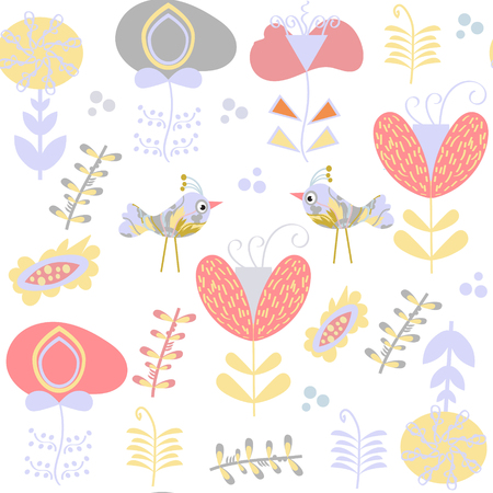 coo: Floral gentle seamless pattern. It is located in swatch menu. Vector image or background