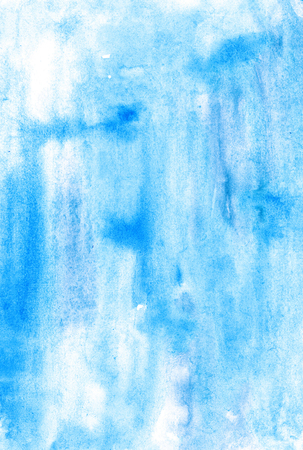 Watercolor  blue monochromatic handiwork wash  painting colorful background design. Nice image or backdrop. Vivid illustration. Stock Photo