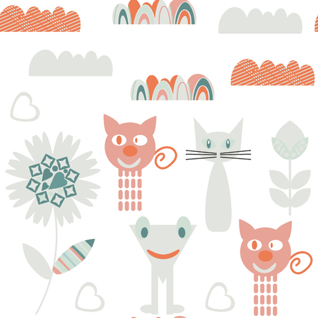 Monsters seamless pattern. It is located in swatch menu, vector image. Cute adorable picture. Funny design background Illustration
