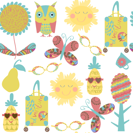 Romantic travel fantasy  retro seamless pattern. It is located in swatch menu, vector image. Cute adorable picture. Funny design colorful backdrop Illustration