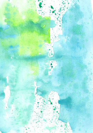 wash painting: Watercolor  green and blue handiwork wash  painting colorful background design. Nice image or backdrop. Vivid illustration.