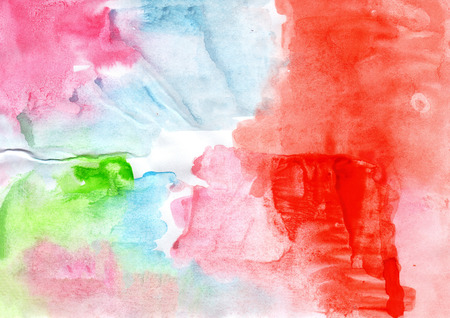 wash painting: Watercolour abstract handmade wash painting background in blue, green, red, pink colors Stock Photo