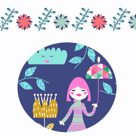 Floral kids vector card