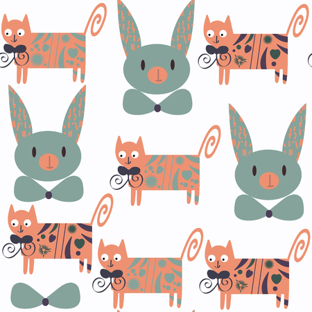 silueta de gato: Cute cats seamless pattern. It is located in swatch menu, vector image. Funny background