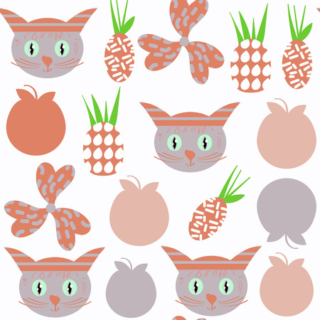 Cute cats abstract seamless patterm. It is located in swatch menu, vector illustration