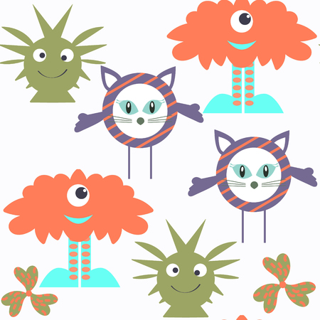 Funny monsters seamless pattern. It is located in swatch menu, vector illustration.