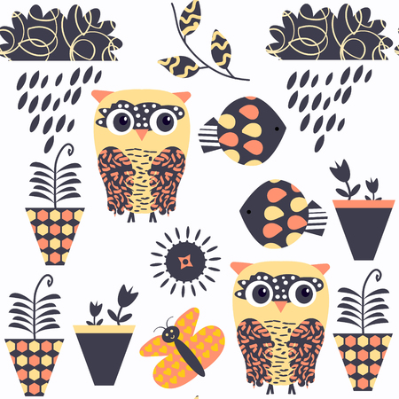 Owls nature animals seamless pattern. It is located in swatch menu, vector background