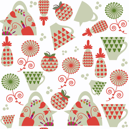 Funny vivid abstract tea seamless pattern. It is located in swatch menu, vector. Cute colorful background