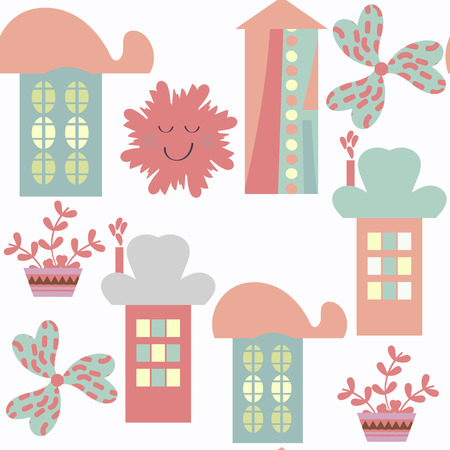 Houses abstract modern city seamless pattern. It is located in swatch menu, vector image Illustration
